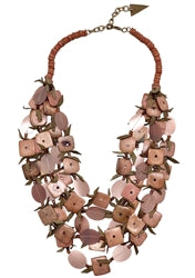 NECKLACE - DUSTY ROSE PINK COCO SHELLS, LEATHER & RESIN