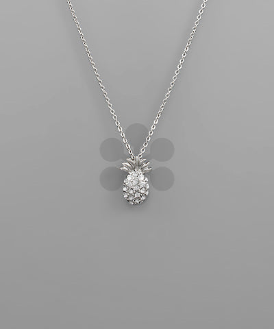 CRYSTAL PAVED PINEAPPLE NECKLACE - SILVER