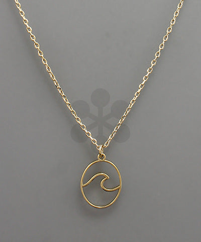 WAVE OVAL PENDANT NECKLACE