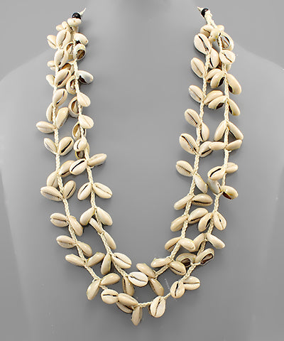 DOUBLE STRAND MULTI COWRY SHELL NECKLACE