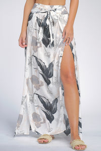FLORAL FRONT TIE MAXI SKIRT