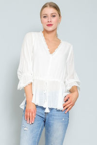 RUFFLED STRING WAIST TOP