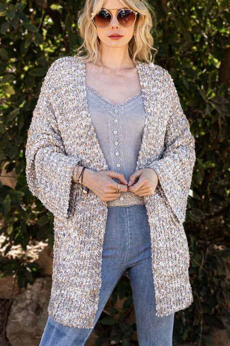 GREY/MULTI COLOR POPCORN CARDIGAN SWEATER