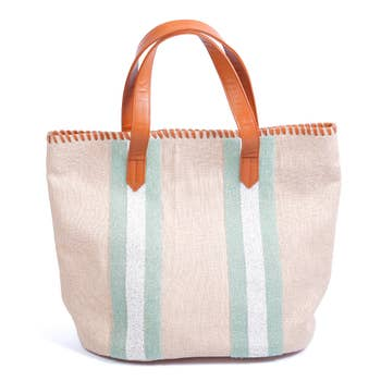 NATURAL CANVAS TOTE W/ TURQ. BEADS