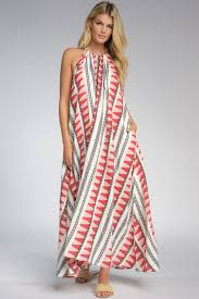 RED AZTEC PRINT HALTER DRESS
