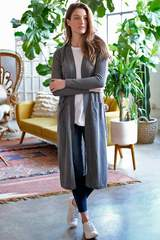 DUSTER CARDIGAN JACKET W/ PATCH POCKETS