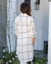 WINDOW PANE BUTTON FRONT SHIRT DRESS