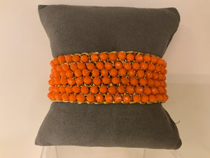 BRIGHT ORANGE BEADED BRACELET