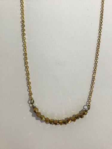 GOLD PLATED CHAIN BEADED NECKLACE