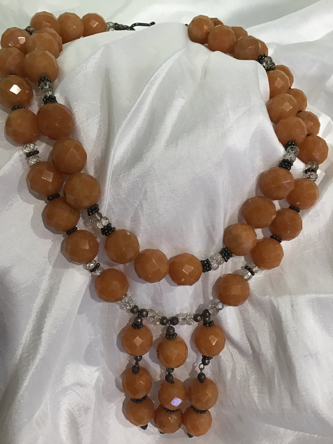 DOUBLE CORAL STONE NECKLACE