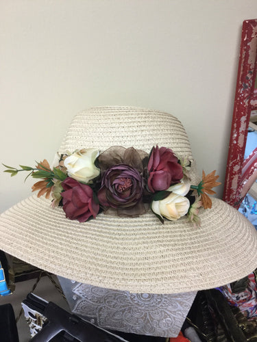 STRAW HAT JEWEL TONE FLOWER