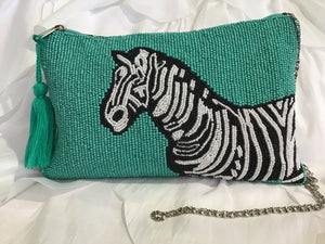 EMBELLISHED ZEBRA CLUTCH
