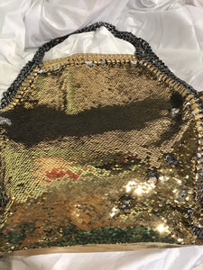 ITALIAN LEATHER SEQUIN HANDBAG