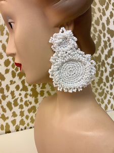 BEADED DISK EARRINGS