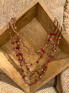WOOD AND BEAD 4 STRAND NECKLACE