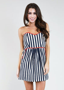 NAVY & IVORY STRIPE TIE BACK DRESS