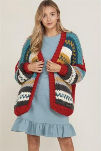 COLORFUL YARN CARDIGAN SWEATER