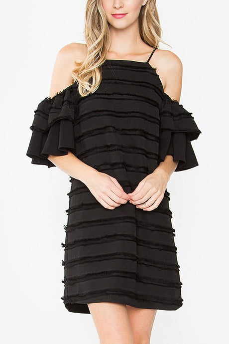 STRIPE FRINGE OFF SHDLR DRESS