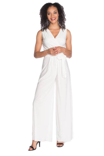 SLEEVELESS JUMPSUIT W/ TIE WAIST