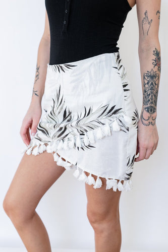 TROPICAL LINEN BLEND SKIRT