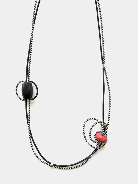 Once Made Necklace: Multi Colour Block in Black and Red