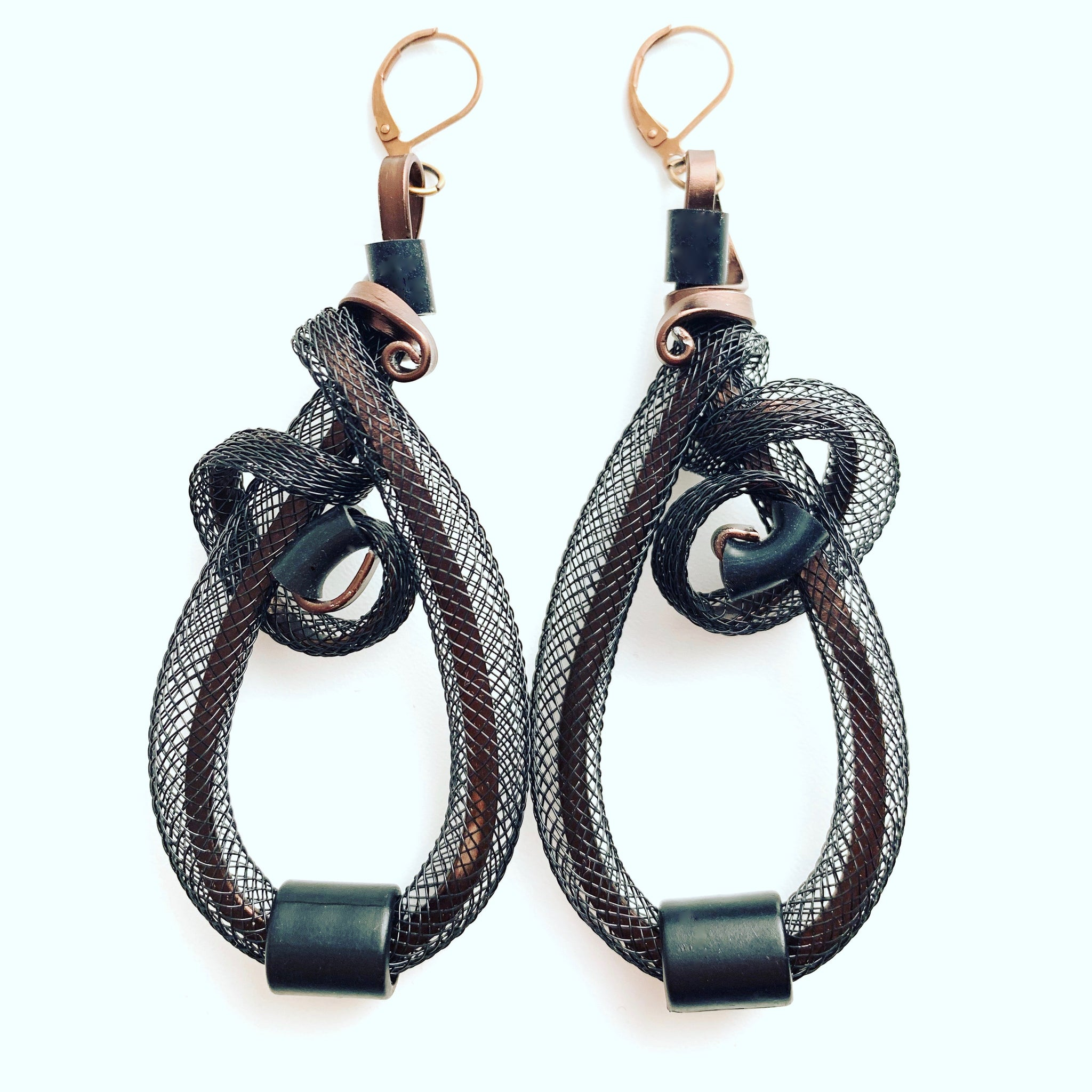 Once Made Earrings: Netted Earrings Black and Bronze with Black
