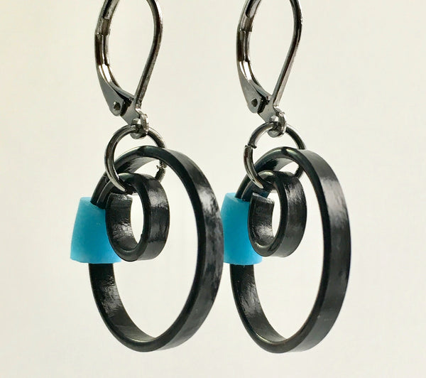 These Reel earring with turq/marine blue accent hang about 2cm long.
