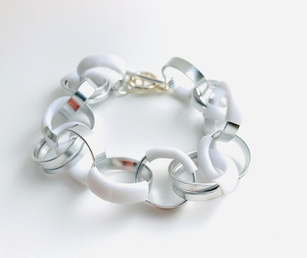 Bubble Bracelet in Silver with white
