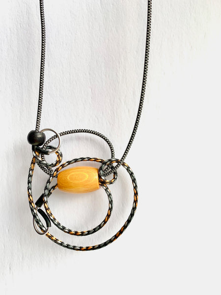 Once Made Necklace: Cable Connect Necklace in Black and White and Yellow