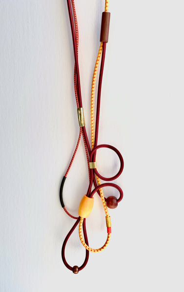 Connecting Necklace in Burgundy and Gold