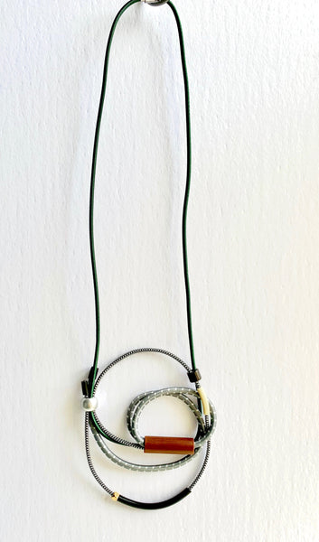 Connecting Necklace in Green and Grey