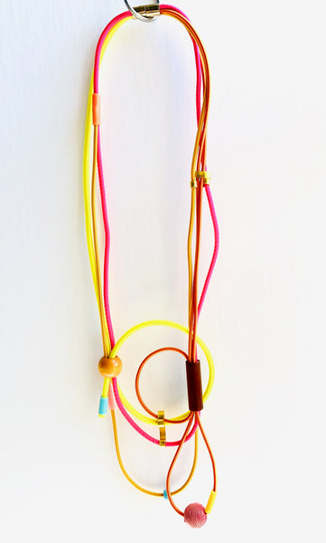 Connecting Necklace in Hot Brights, Brown and Gold