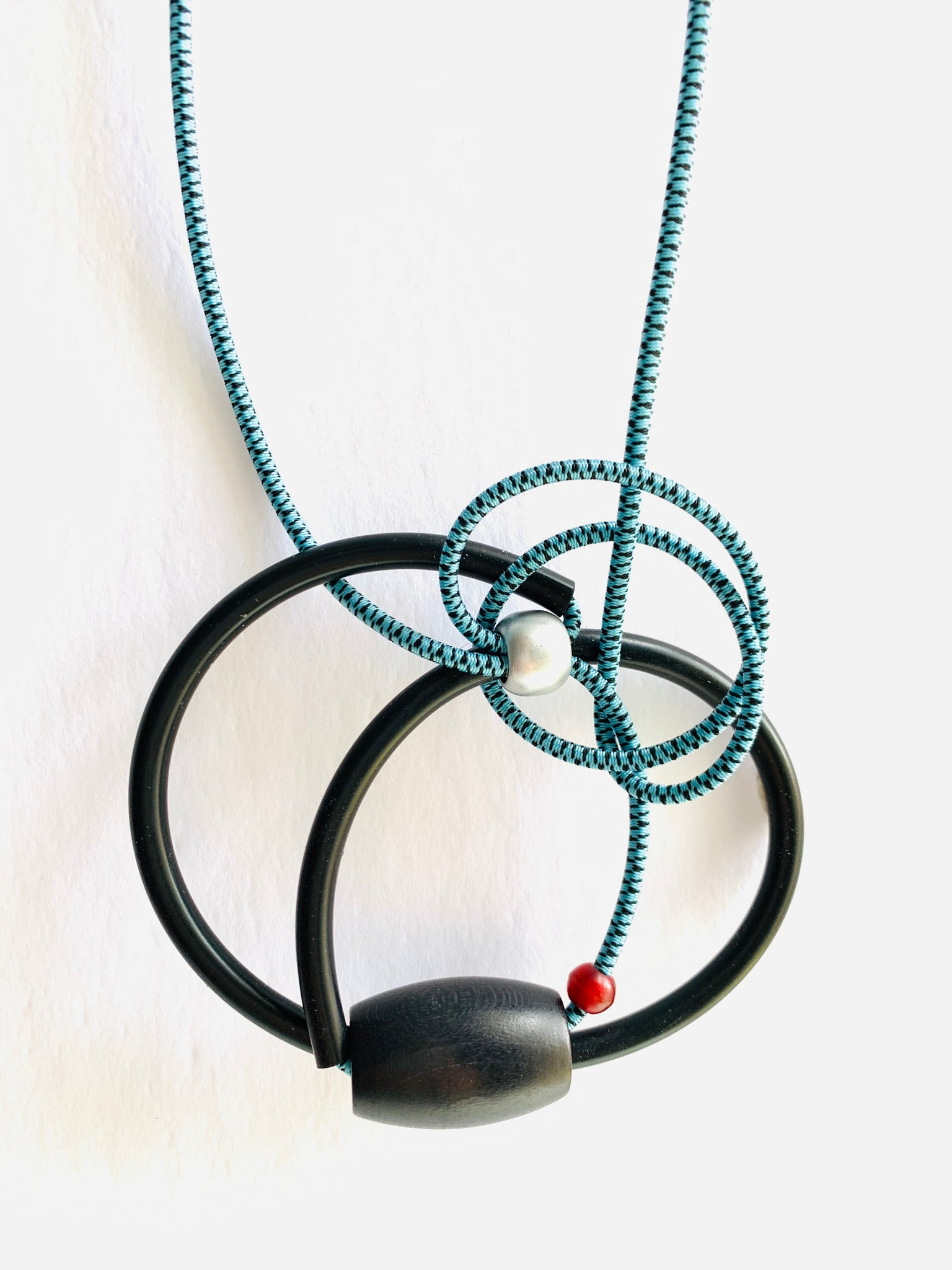 Connecting Necklace in Light Blue and Black