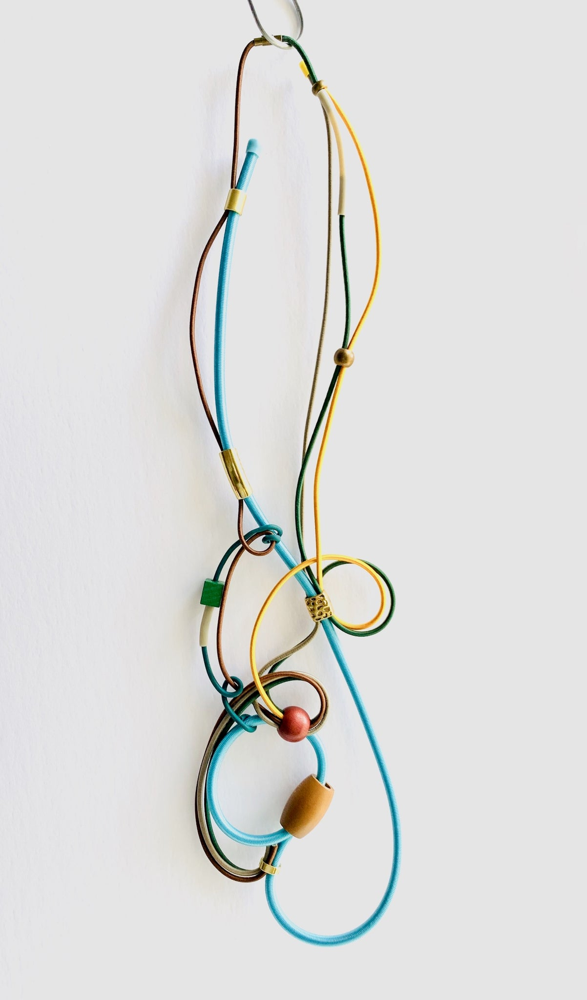 Connecting Necklace in Light Blue, Gold and Brown