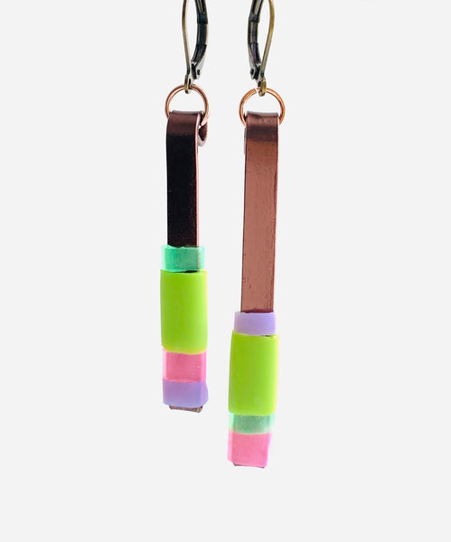 Matchstick Earrings in bronze, green and pastels