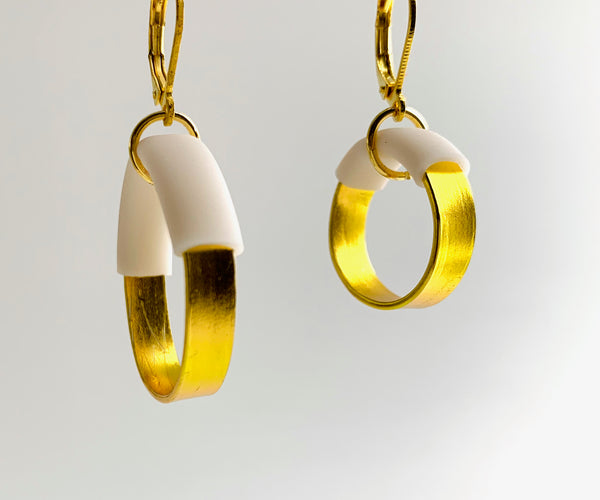 Bubbles: Small Bubble Earrings in Gold with white earrings
