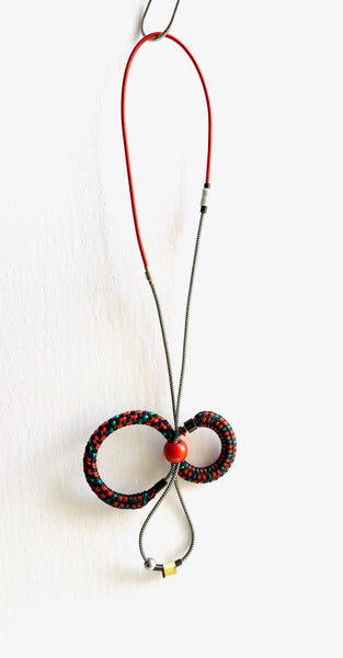 Once Made Necklace: Cable Connect Necklace in Black and White and Red
