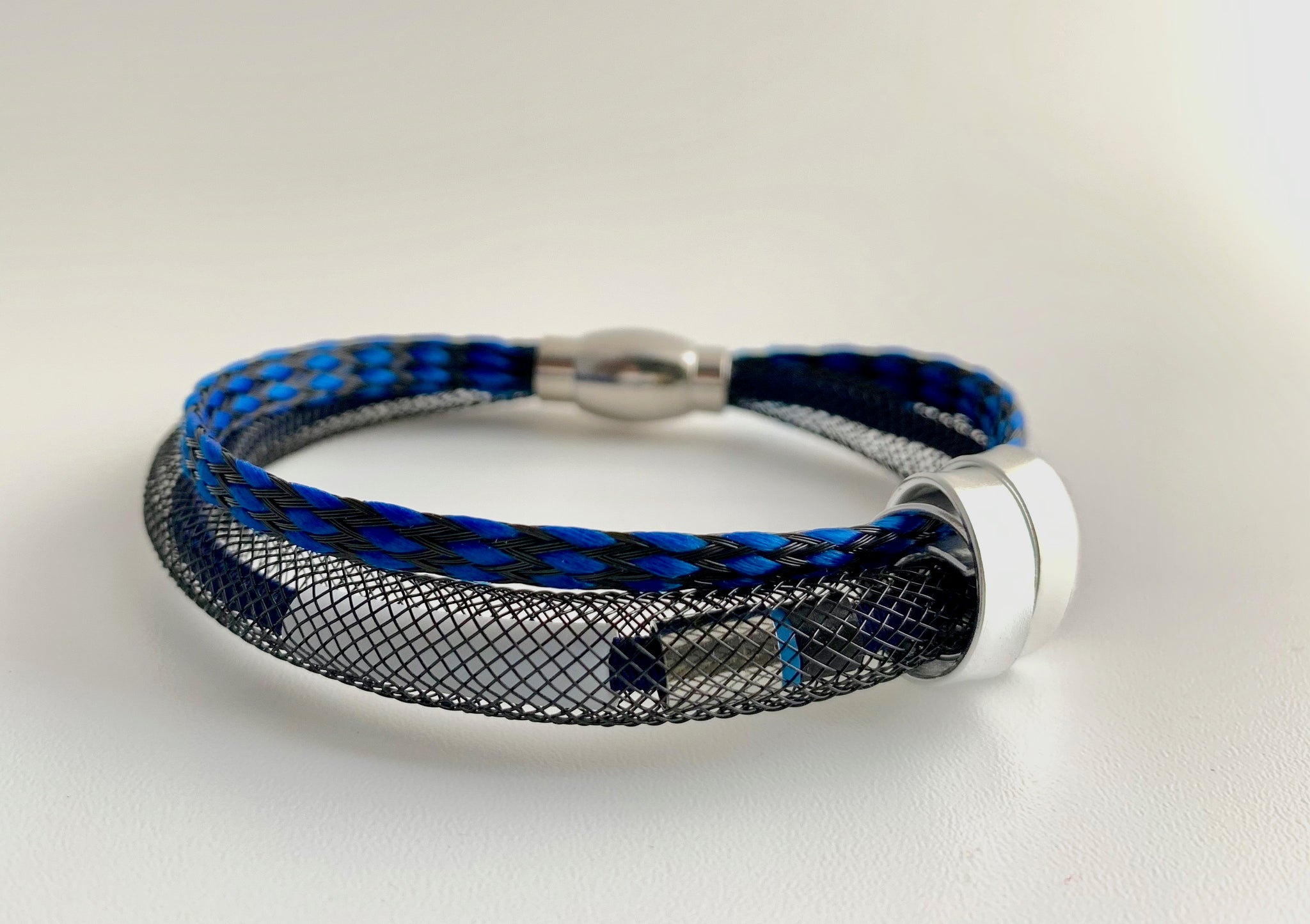 Netted Cable Connect Bracelet in blue and black