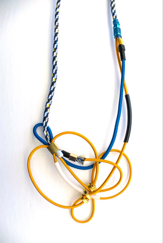 Once Made Necklace: Connecting Necklace in Cable cloth Blue and Gold