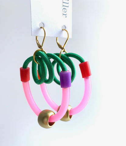 Once Made Earrings: Colour Connect Earrings in pink and green