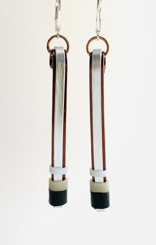 Double Matchstick Earrings in Bronze + Silver