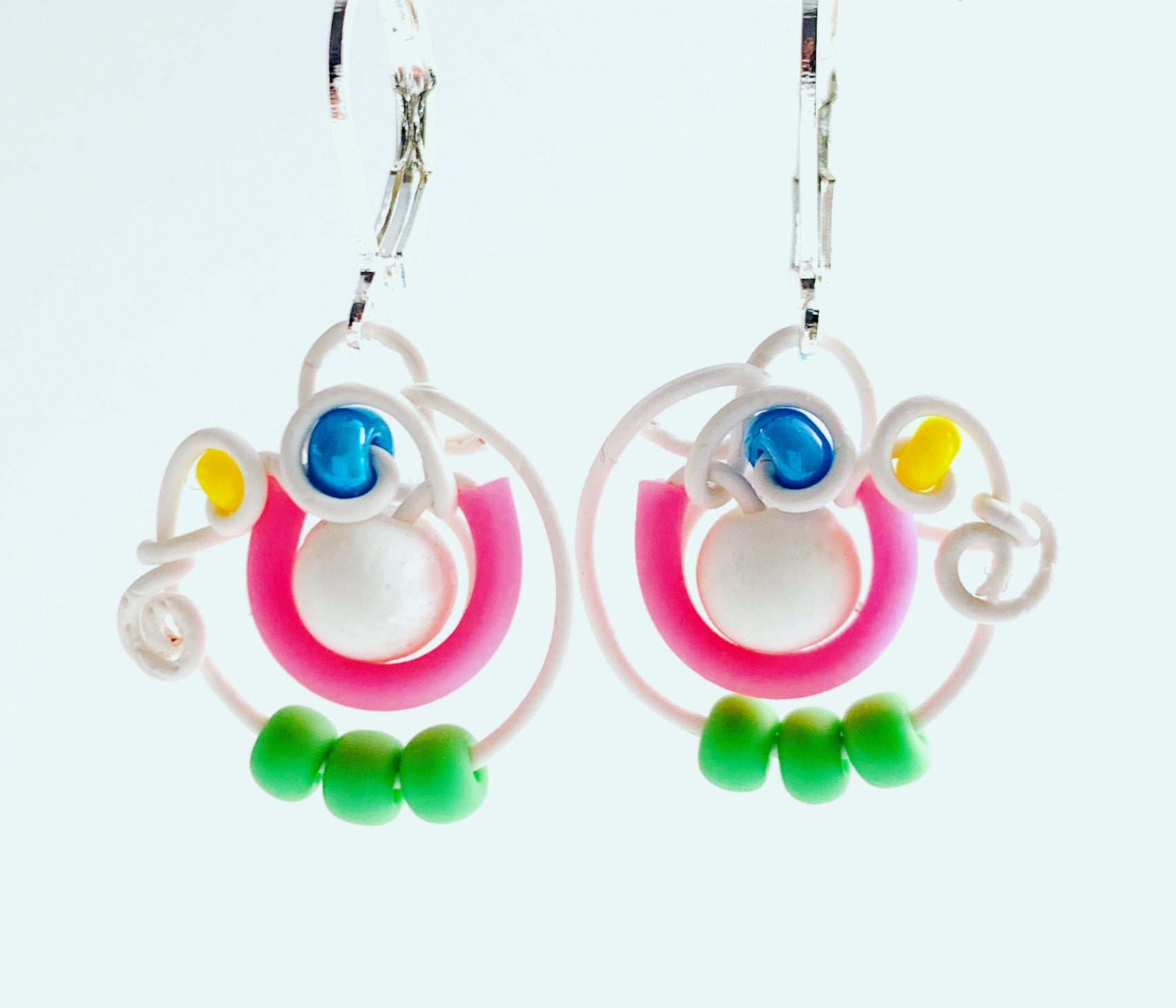 Techno Colour Classic MiMi Earrings with white, pink and green