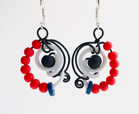 Techno Colour Classic MiMi Earrings with black, white and red