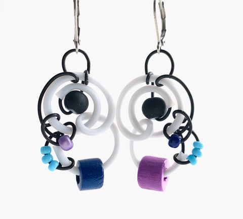 Techno Colour Classic Mimi Earrings with black, white, purple and blue