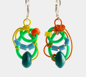 Techno Colour Classic Mimi Earrings with yellow and orange and green and blue