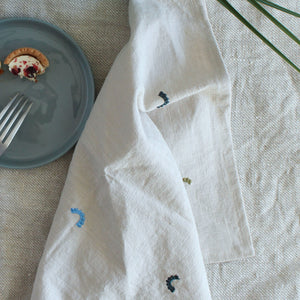Embroidered Ditsy Linen Napkins