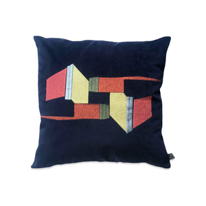 Embroidered Navy Velvet Cushion 2