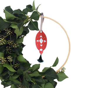 Christmas Wreath Embroidered Teardrop Decoration Strawberry