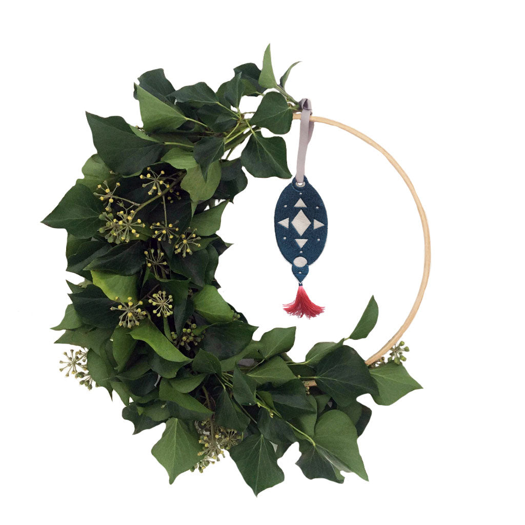 Christmas Wreath Embroidered Teardrop Decoration Teal