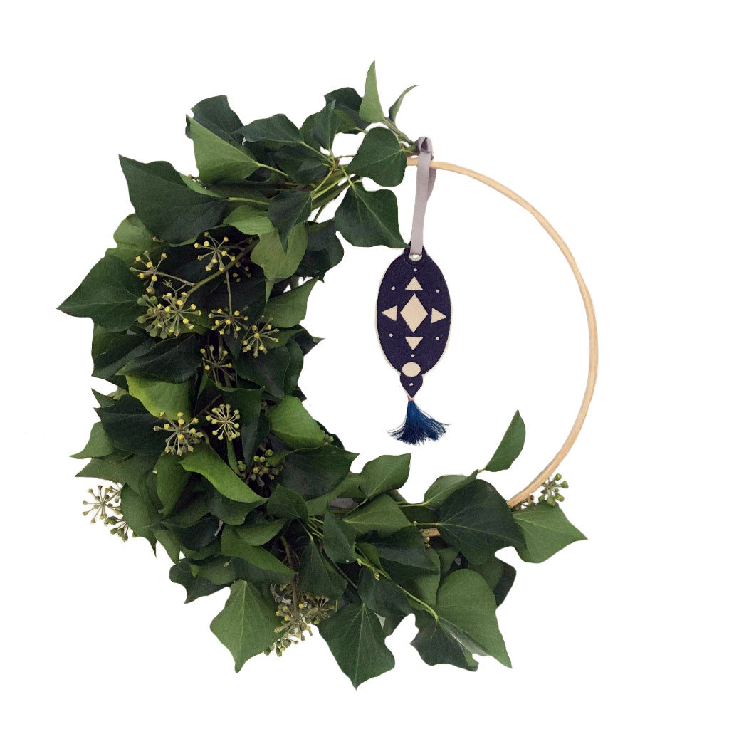 Christmas Wreath Embroidered Teardrop Decoration Navy